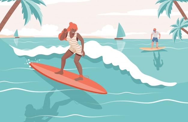 海で夏のアクティビティをしている人々。女と男のボードフラットイラストをサーフィンします。 Premiumベクター
