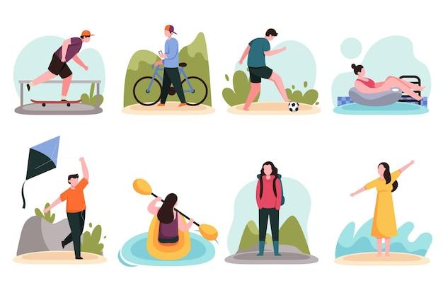 Люди занимаются летними видами спорта Бесплатные векторы