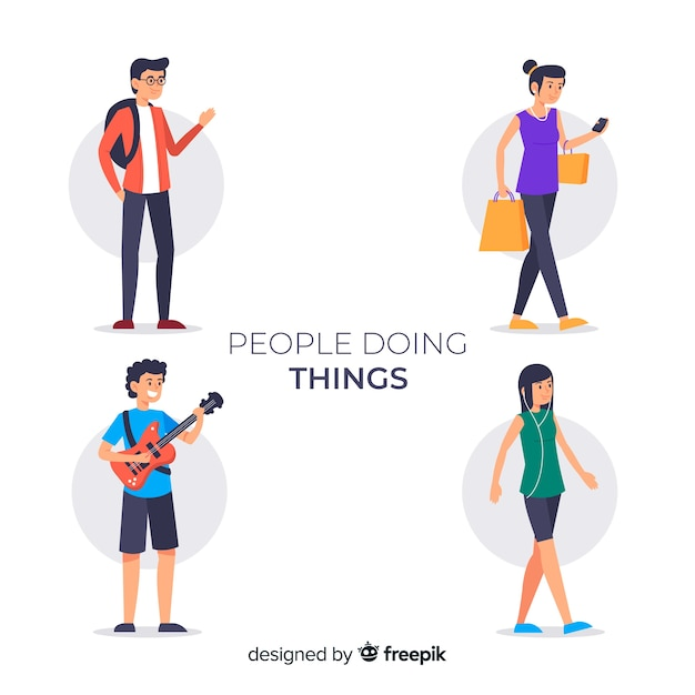 People doing things collection Free Vector
