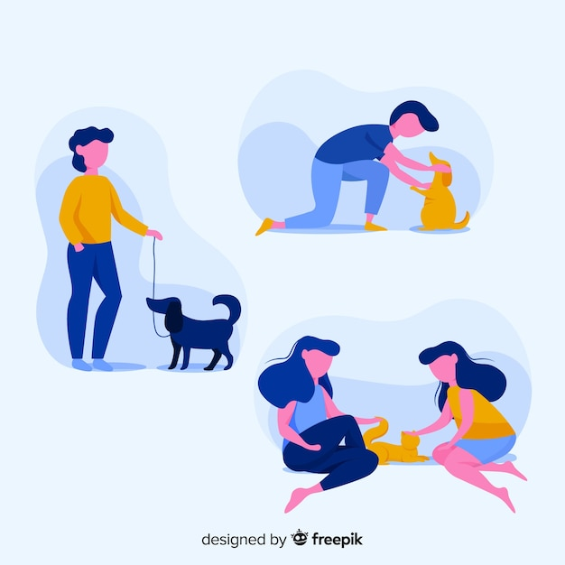 People doing things with animals collection Free Vector