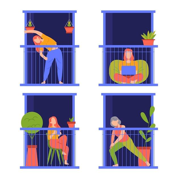 Persone che svolgono varie attività sul balcone di notte Vettore gratuito