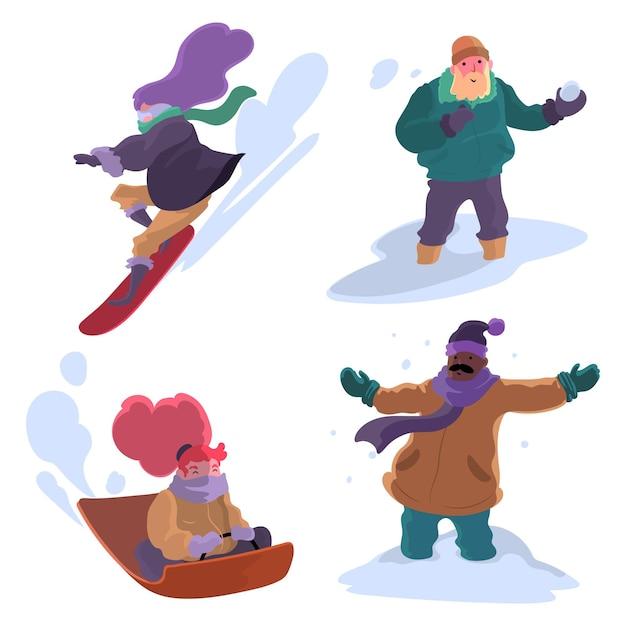 冬のアクティビティをしている人 無料ベクター