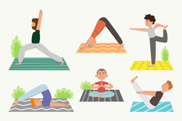 People doing yoga concept Free Vector