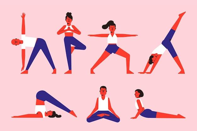 Persone che fanno il concetto di yoga Vettore gratuito