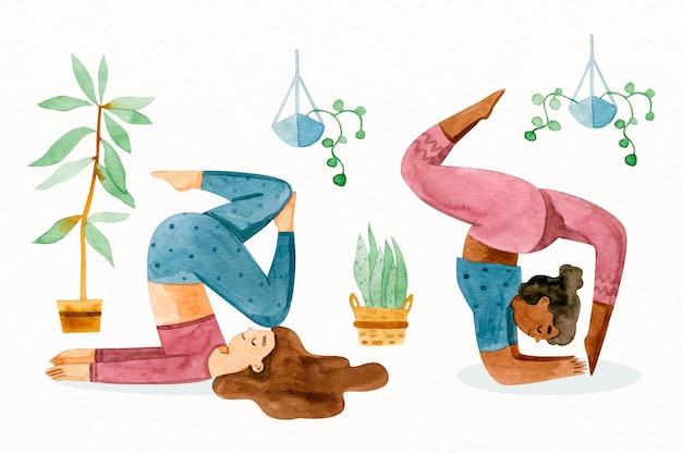 La gente che fa yoga disegnato a mano Vettore gratuito