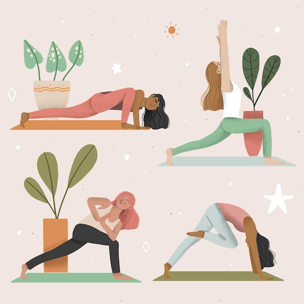 People doing yoga illustration concept Free Vector