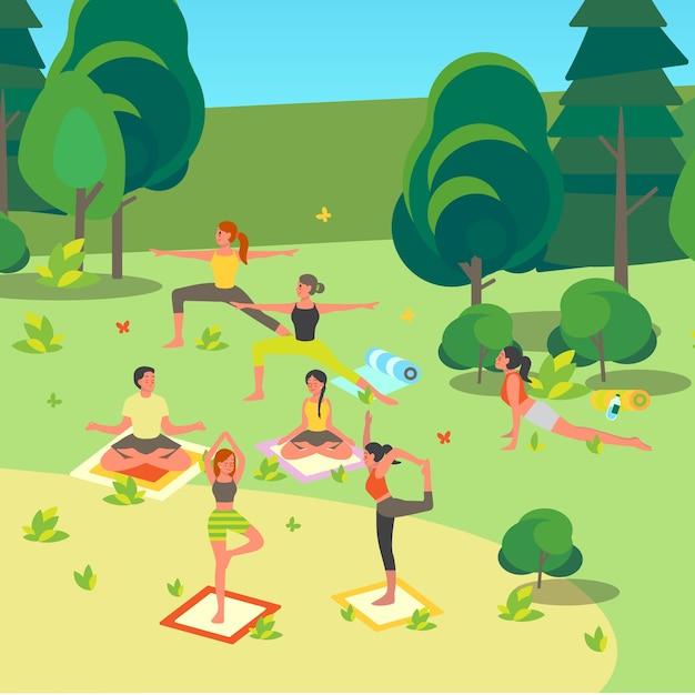 공원에서 요가를하는 사람들. 사람들을위한 아사나 또는 운동 프리미엄 벡터