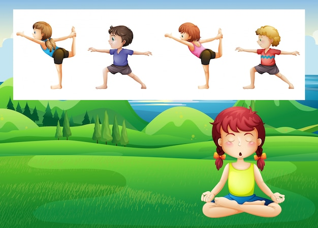 People doing yoga in the park\ illustration