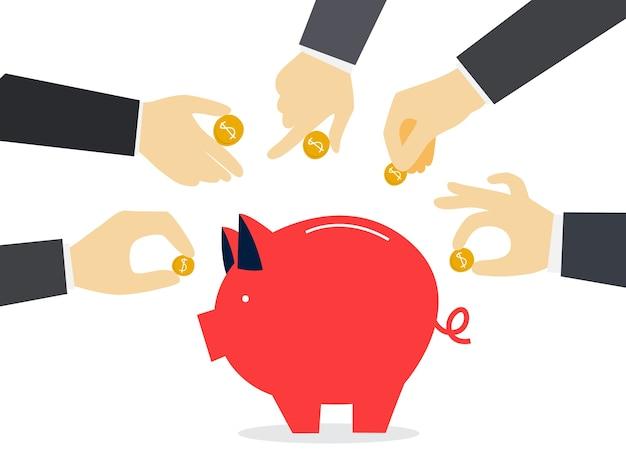 Люди жертвуют деньги, чтобы помочь бедным Premium векторы