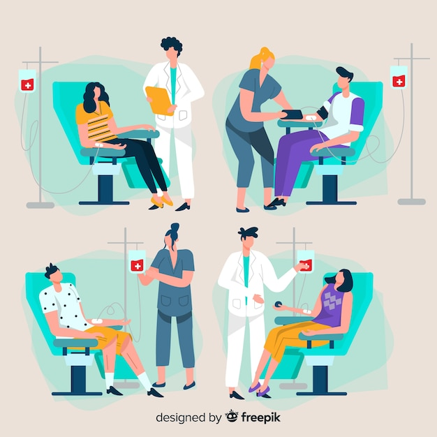 People donating blood in a hospital Free Vector