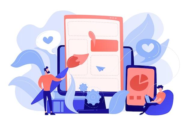 Люди рисуют элементы веб-страницы на смартфоне и жк-экране. front end разработка it концепции. процесс разработки программного обеспечения. розовато-кораллово-голубая палитра. векторная иллюстрация Бесплатные векторы
