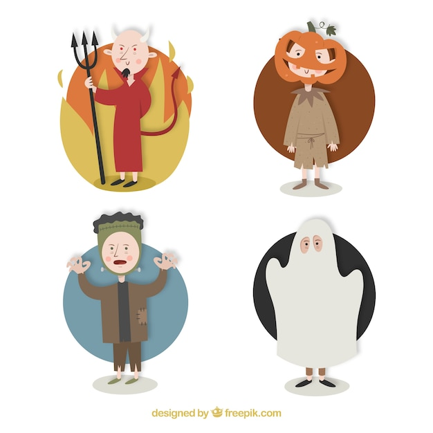 People dressed as a devil, jackolantern, frankenstein and a mummy Free Vector