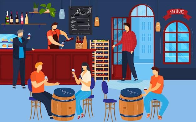 Люди пьют вино иллюстрации. Premium векторы