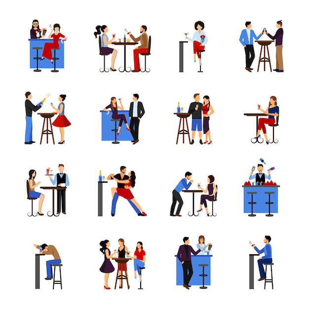 People drinking in bar Free Vector