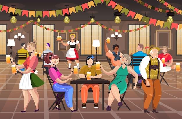 Люди пьют пиво в пабе октоберфест вечеринка концепция празднования смешанная гонка мужчины женщины веселятся горизонтальная полная длина векторная иллюстрация Premium векторы