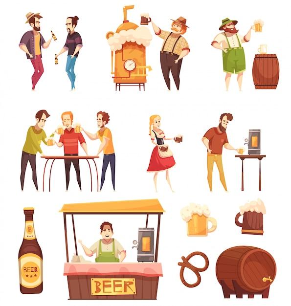 People drinking beer set Free Vector