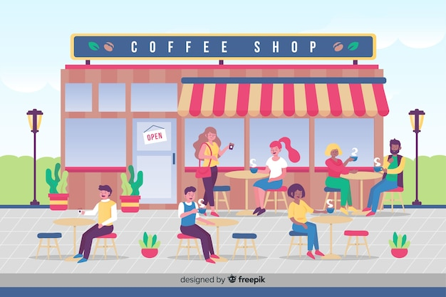 People drinking coffee at cafe Free Vector