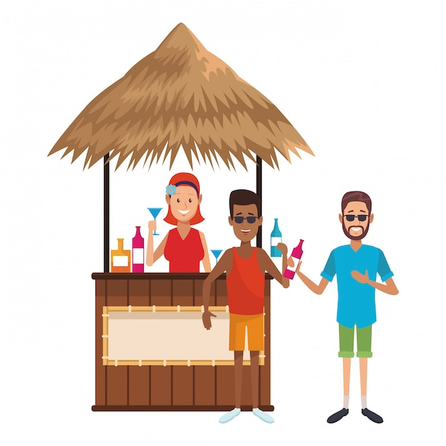 People drinking at summer Premium Vector