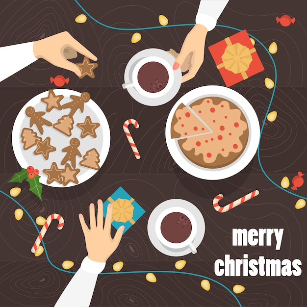 People drinking tea and coffee with gingerbread at the christmas table top view. presents and sweets on the table.   illustration Premium Vector