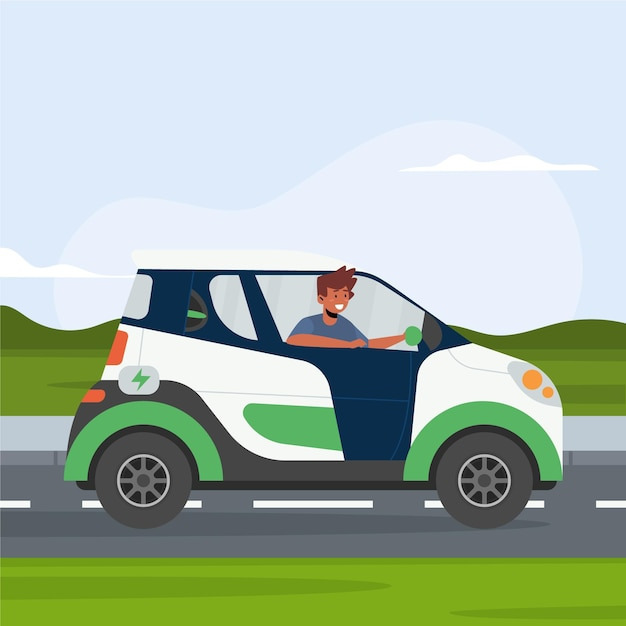 People driving electric car Free Vector
