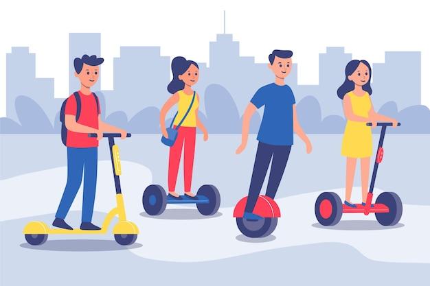 Люди за рулем электрического транспорта Бесплатные векторы