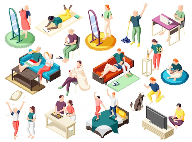 People during various activity at home on weekend set of isometric icons isolated Free Vector
