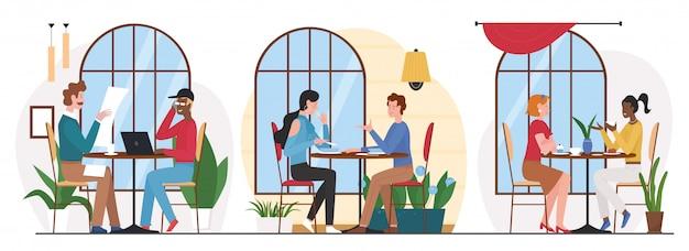 Люди едят в кафе иллюстрации. группа персонажей мультфильма, обедающая или ужина в кафетерии или интерьере фуд-корта, встреча для бизнеса или дружеский разговор на белом Premium векторы