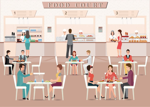 People eating in a food court in a shopping mall. Premium Vector