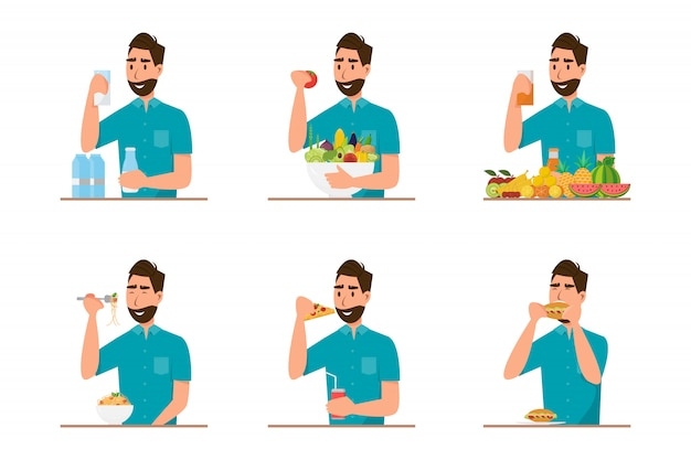 People eating healthy food and fast food in different character Premium Vector