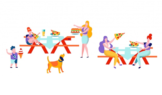 People eating out in public place sitting at table Premium Vector