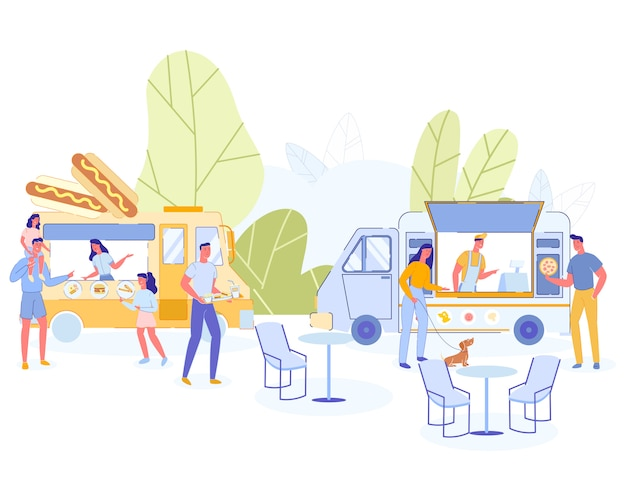 People eating in public place parents and children Premium Vector