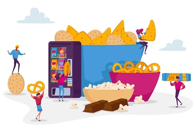 Люди едят закуски концепции. Premium векторы