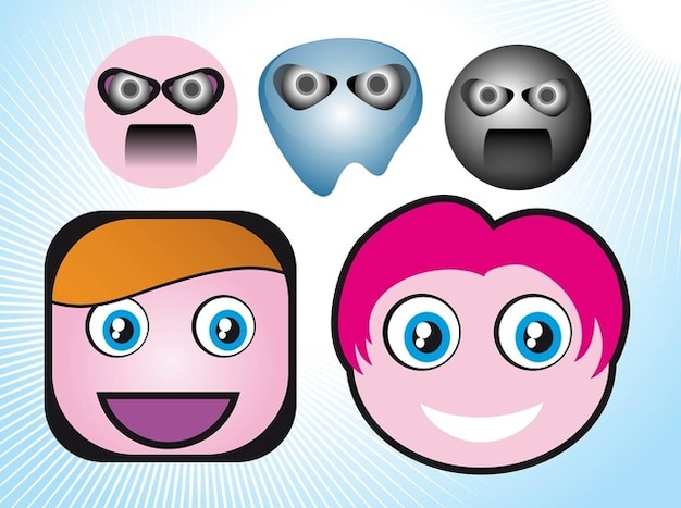 People emoticons cartoon faces