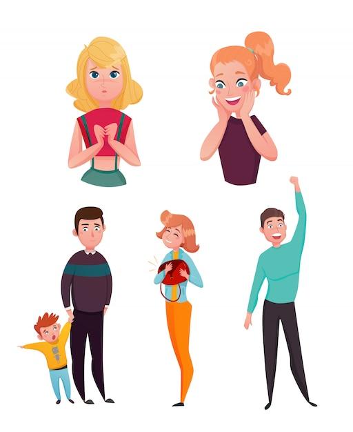 People emotions cartoon characters set Free Vector