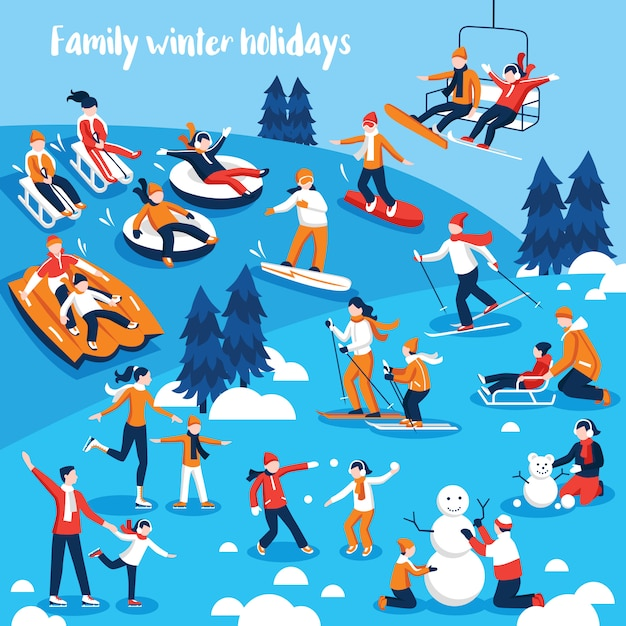 People engaged in winter sports Free Vector