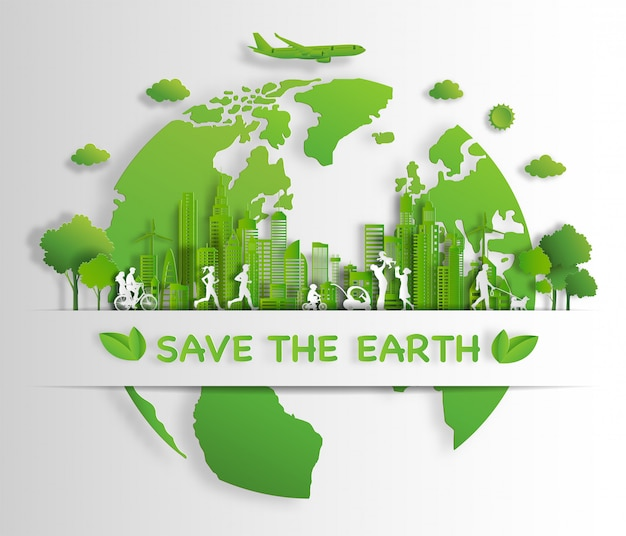 People Enjoy Activities Outdoor With Eco Green City Concept