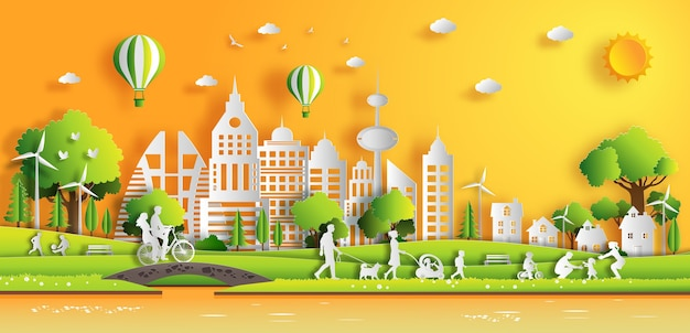 People enjoy fresh air in the park in the city with sunset. Premium Vector