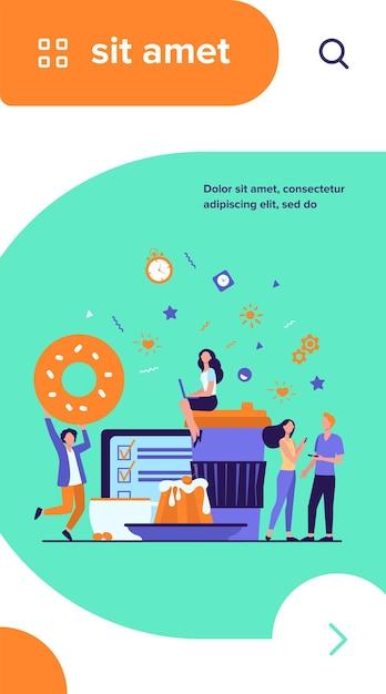 コーヒーブレイクを楽しむ人々。使い捨ての紙やセラミックカップ、焼き菓子、メニューの中でデジタルデバイスを使用している若い男性と女性 無料ベクター