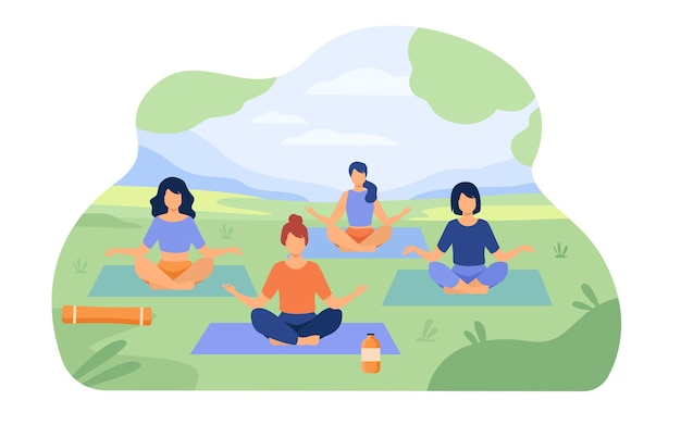 People enjoying outdoor yoga class in park. women sitting on grass in lotus pose. Free Vector