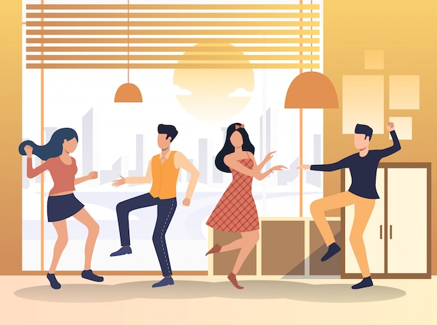 People enjoying party at home Free Vector