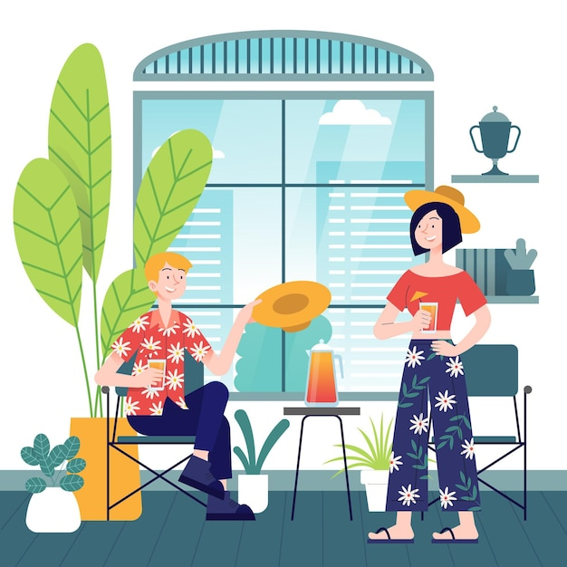 People enjoying staycation Free Vector