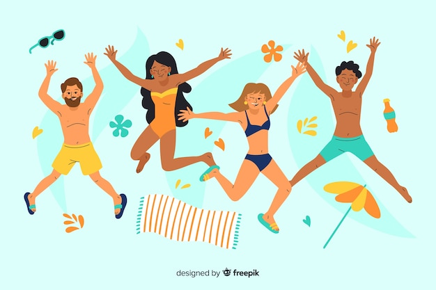 People enjoying summer at the beach Free Vector