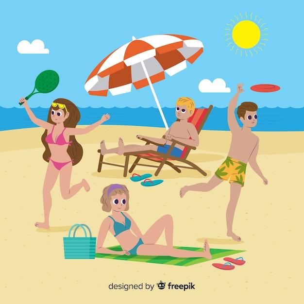 People enjoying summer Free Vector