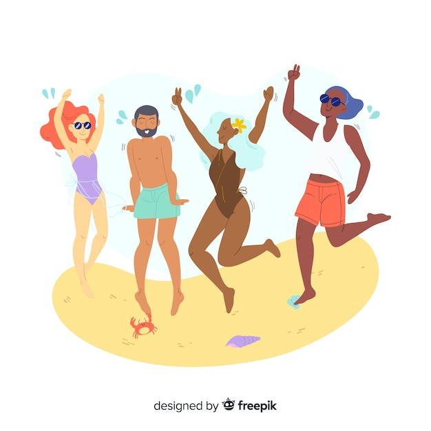 People enjoying summer Free Vector