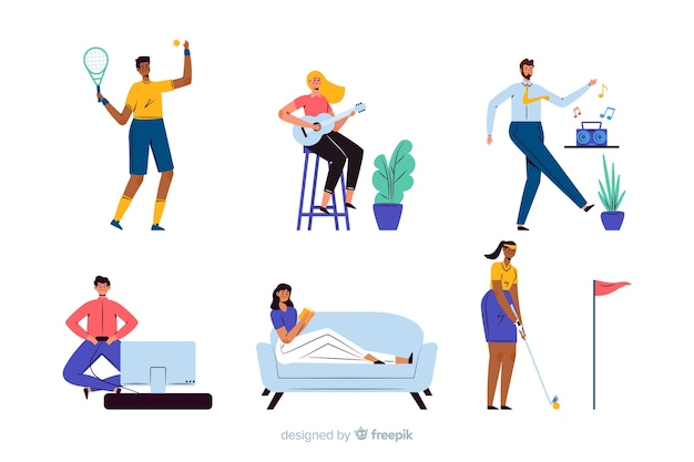 People enjoying their free time Free Vector