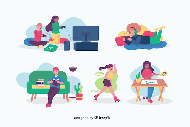 People enjoying their hobbies collection set Free Vector