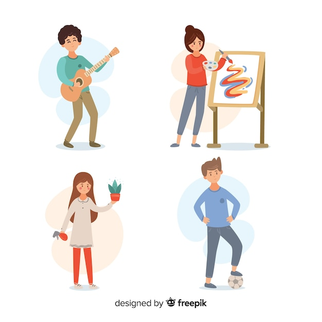 People enjoying their hobbies collection Free Vector