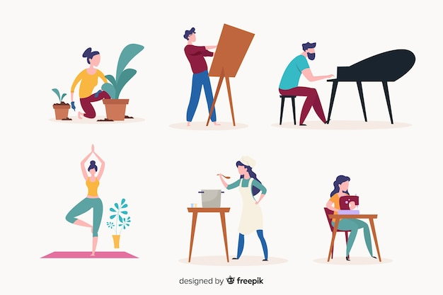 People enjoying their hobbies at their places Free Vector