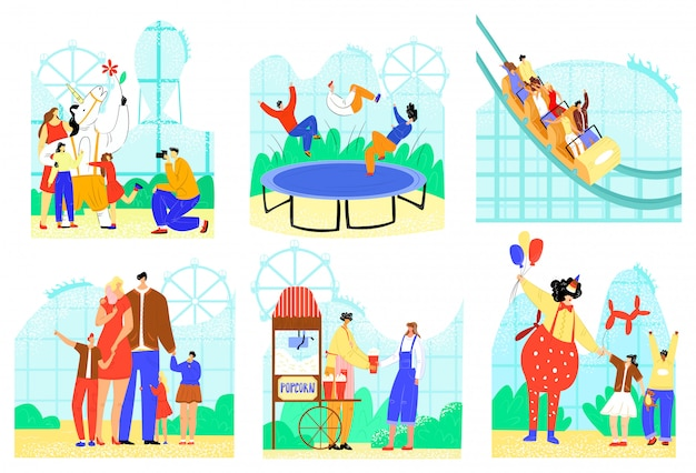 People in entertainment park  illustration set, cartoon  active family character have fun, park attraction icons  on white Premium Vector