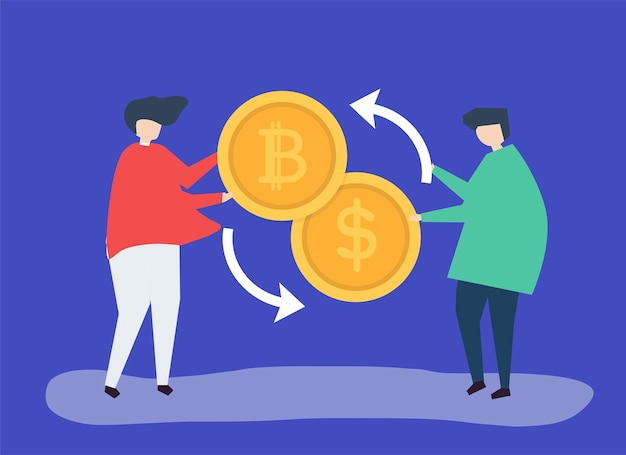People exchanging bitcoin to dollars Free Vector